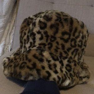 Fuzzy Leopard Bucket Hat